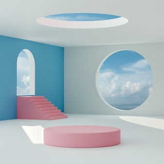 Pink podium stage stand on blue cloudy sky abstract room background for product placement 3d render