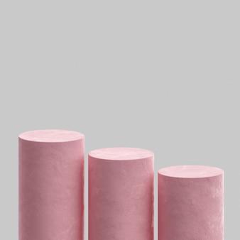 핑크 연단 무대 스탠드 콘크리트 흰색