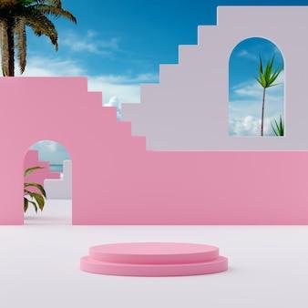 제품 배치 3d 렌더를 위해 열대 파란색 흐린 하늘 배경에 분홍색 연단 무대 스탠드 프리미엄 사진