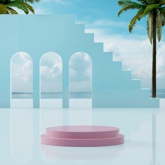 분홍색 연단 무대는 제품 배치 3d 렌더링을 위해 바다 해안의 열대 푸른 하늘에 서 있습니다.