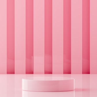 Pink podium stage stand on pink background for product placement 3d render