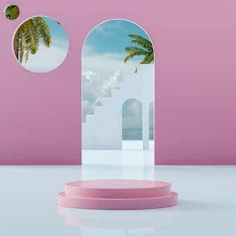 Pink podium stage stand on tropical blue sky at sea shore for product placement 3d render