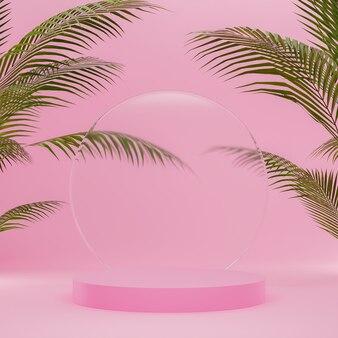 핑크 연단 스탠드 및 제품 배치를위한 야자수와 자연 배경에 유리 연단