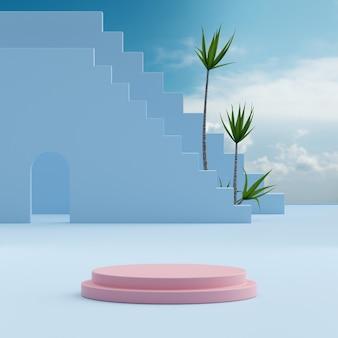 제품 배치 3d 렌더링을 위한 나무 배경이 있는 분홍색 연단 스탠드 푸른 하늘