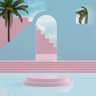 Pink podium stand blue sky with tropical trees for product placement 3d render