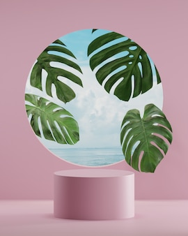 ピンクの表彰台は、製品の配置3dレンダリングのためのヤシの木と海と自然の背景に立っています