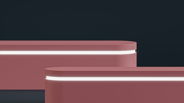 제품 배치를 위해 어두운 배경에 분홍색 연단 스탠드 프리미엄 사진
