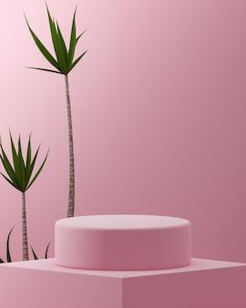 열대 나무와 핑크 연단 스탠드