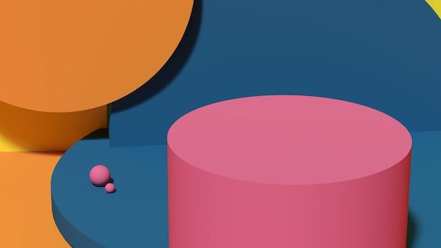 파란색 배경에 분홍색 연단 기하학적 3d 렌더링 추상 받침대 장면