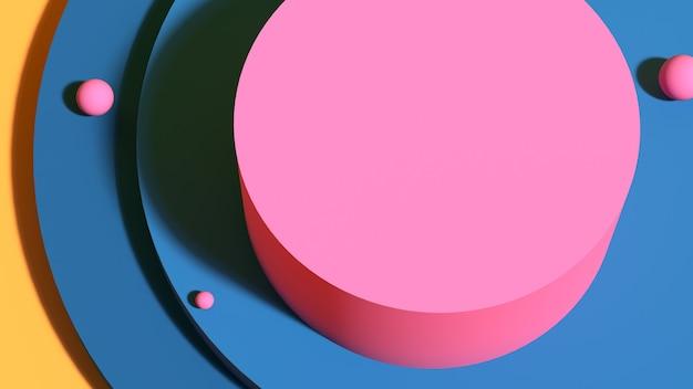 青い背景にピンクの表彰台幾何学的な3dレンダリングで抽象的な台座シーン