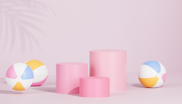 Pink podiums or pedestals for products or advertising on tropical background with beach balls, 3d render