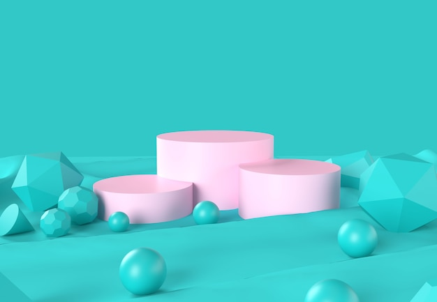 Pink podiums with spheres on green