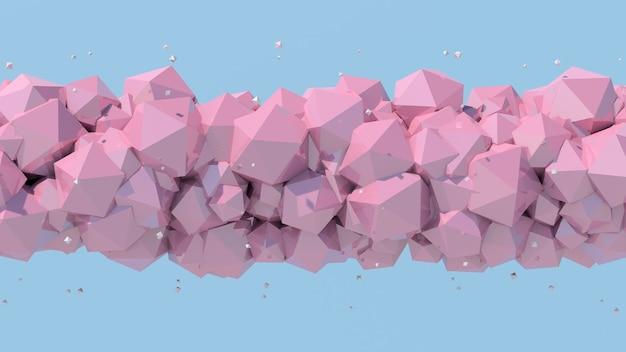 Розовые многогранники, синий фон. абстрактная иллюстрация, 3d визуализация.