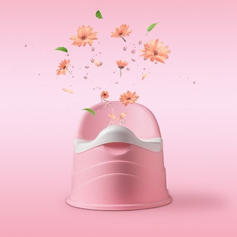 Pink potty with splashes and flowers