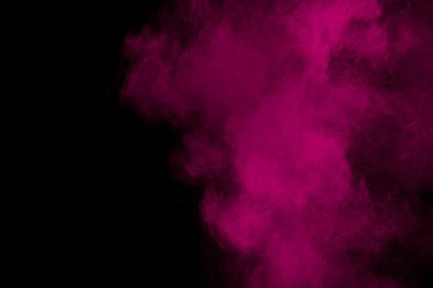 Pink powder explosion in the dark