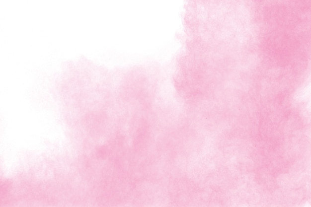 Pink powder explosion isolated on white background.