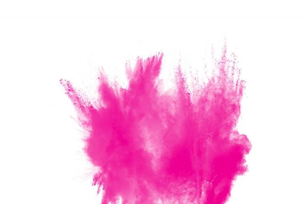 Pink powder explosion on white.