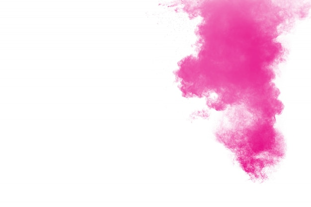 Pink powder explosion on white