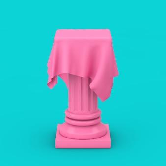 파란색 배경에 이중톤 스타일의 실크 천으로 된 분홍색 프레젠테이션 열 받침대. 3d 렌더링