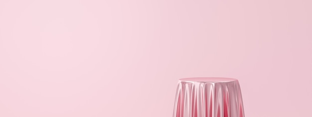 Pink product background stand or podium pedestal on empty display with luxury fabric backdrops.
