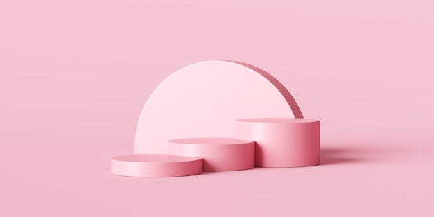 Pink product background stand or podium pedestal on empty display with pastel backdrops.