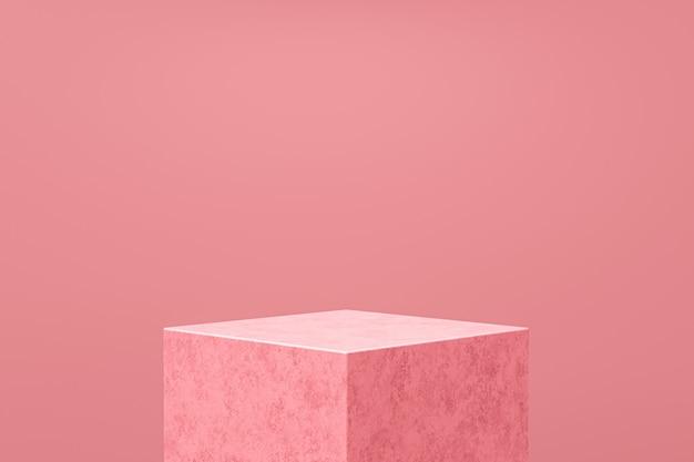 ピンクの製品の表示または表彰台はピンクの背景に立っています。デザインのためのモダンな台座。 3dレンダリング。