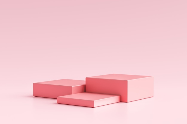 Розовые постамент дисплея или витрины продукта на простой предпосылке с концепцией стойки куба. розовый подиум студии или шаблон продукта платформы. 3d-рендеринг.