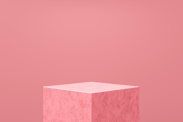 Pink product display or podium stand on pink background . modern pedestal for design. 3d rendering.