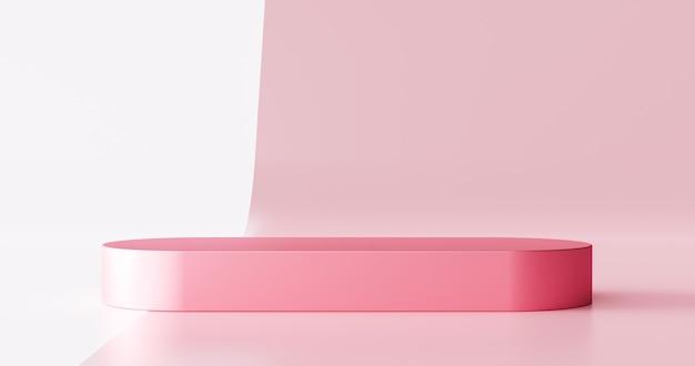 스튜디오 쇼케이스 배경으로 빈 현대 미술 방에 핑크 제품 무대 배경 또는 연단 받침대 디스플레이. 3d 렌더링.