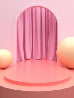 Розовая сцена продукта или подиум с занавеской для рекламного баннера или витрины. 3d иллюстрации