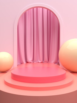Pink product stage or podium with curtain for banner promo or showcase. 3d illustration