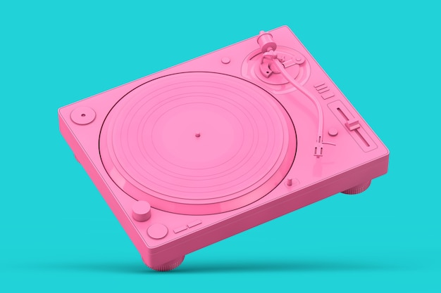 Pink professional dj turntable vinyl record player in duotone style on a blue background. 3d rendering