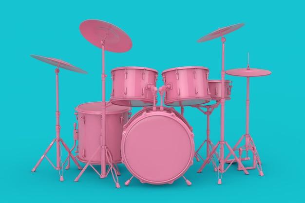 분홍색 전문 록 블랙 드럼 키트는 파란색 배경에 모의합니다. 3d 렌더링