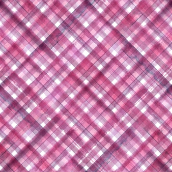 Pink and purple abstract geometric diagonal plaid seamless background. watercolor hand drawn pink and purple trendy pattern.