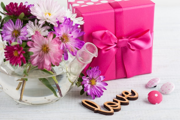 Pink purple garden flowers and gift box