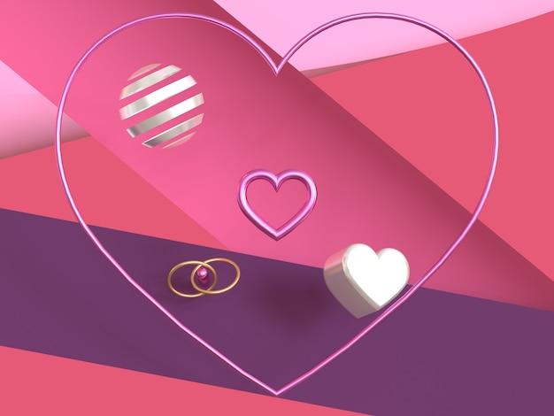 Pink purple scene heart symbol metallic shiny 3d render valentine concept
