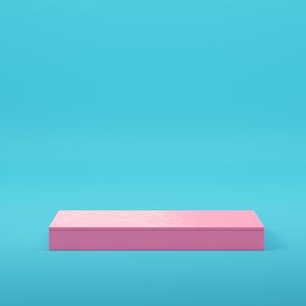 파스텔 색상의 밝은 파란색 배경에 제품 표시를 위한 분홍색 사각형 연단입니다. 미니멀리즘 개념입니다. 3d 렌더링