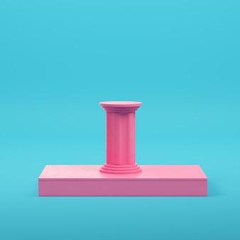 파스텔 색상의 밝은 파란색 배경에 기둥이 있는 분홍색 사각형 연단. 미니멀리즘 개념입니다. 3d 렌더링
