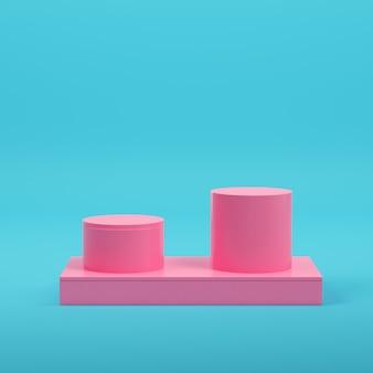파스텔 색상의 밝은 파란색 배경에 제품 표시를 위한 2개의 실린더가 있는 분홍색 사각형 연단. 미니멀리즘 개념입니다. 3d 렌더링