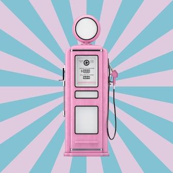 Розовый ретро газовый насос на винтажной форме звезды розово-синем фоне. 3d рендеринг