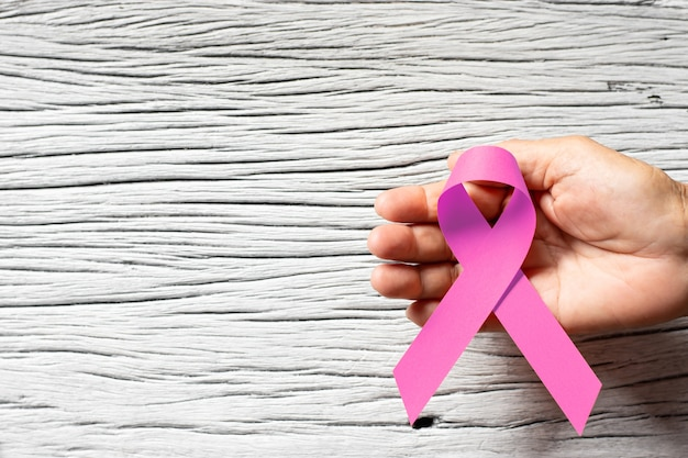 Pink ribbon for anti-breast cancer campaign day.