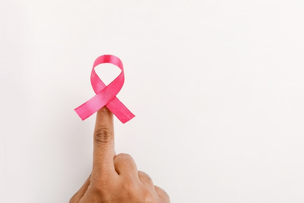 Pink ribbon for breast cancer awareness.