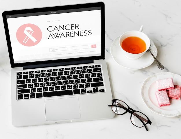 핑크 리본 유방암 건강 관리 개념