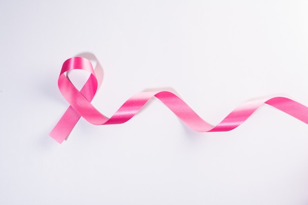 Pink ribbon cancer sign on white