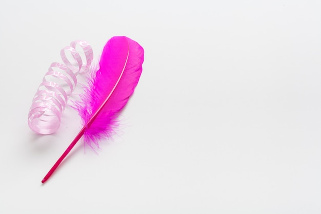 Pink ribbon and feather with copy space