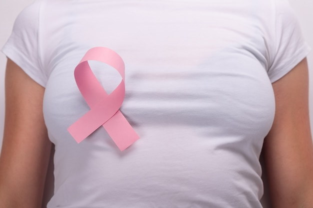 Pink ribbon on the female breast, breast cancer fight symbol.