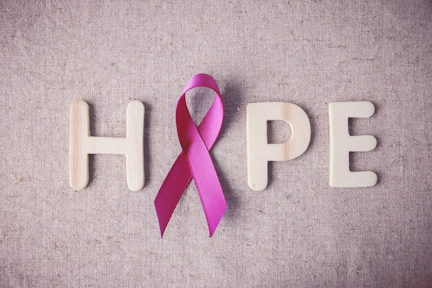 Pink ribbon and hope, breast cancer awareness