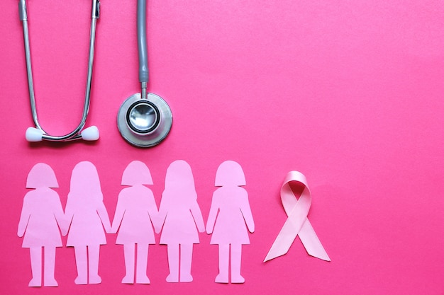 Pink ribbon and stethoscope on pink background, symbol of breast cancer in women
