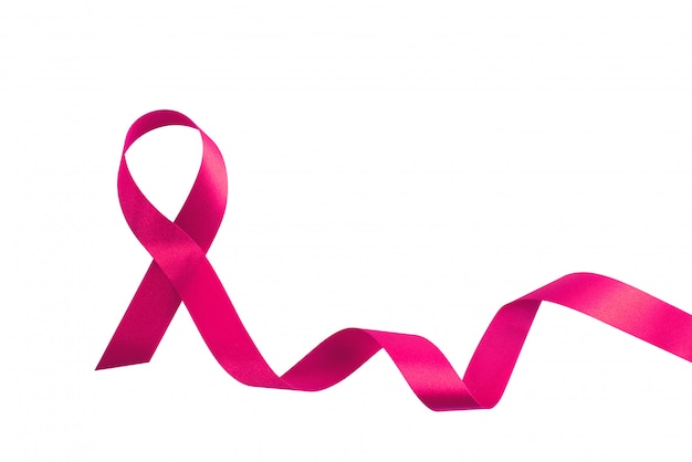 Pink ribbon symbolic bow color raising awareness on people living with tumor breast cancer isolated
