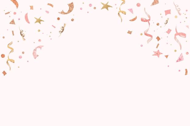 ピンクのリボンは、デザインスペースで新年のパーティーの背景を祝う